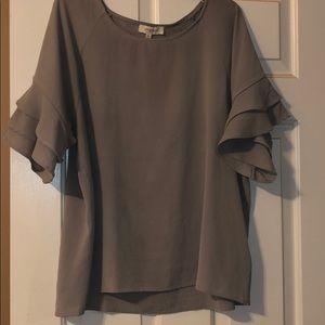 Flowy ruffle sleeve grey blouse.